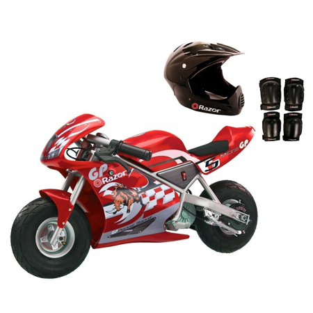 Razor Pocket Rocket 24V Mini Bike Electric Moto Bike with Helmet & Pad Set, Red - Micro Mini Helmet