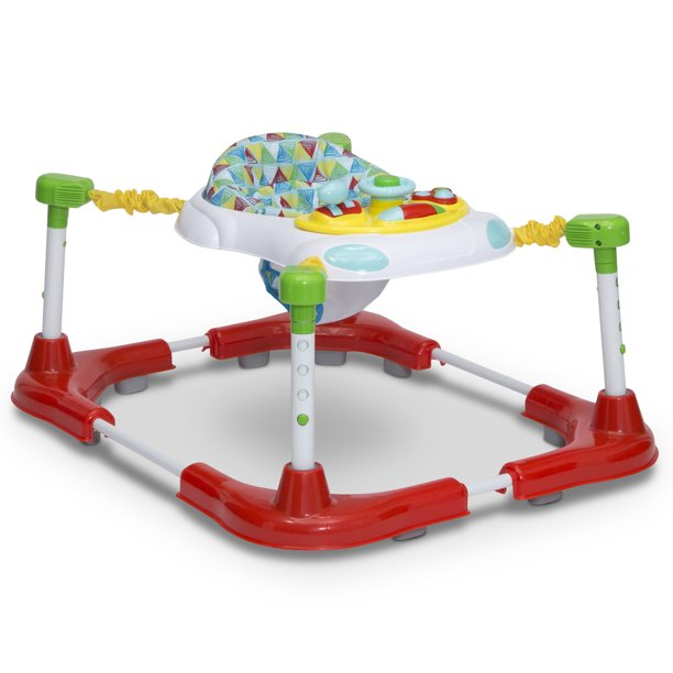 Little Folks First Steps 3-in-1 Sit-to-Stand Bouncer by Delta Children, Walker and Play Station, Triangular