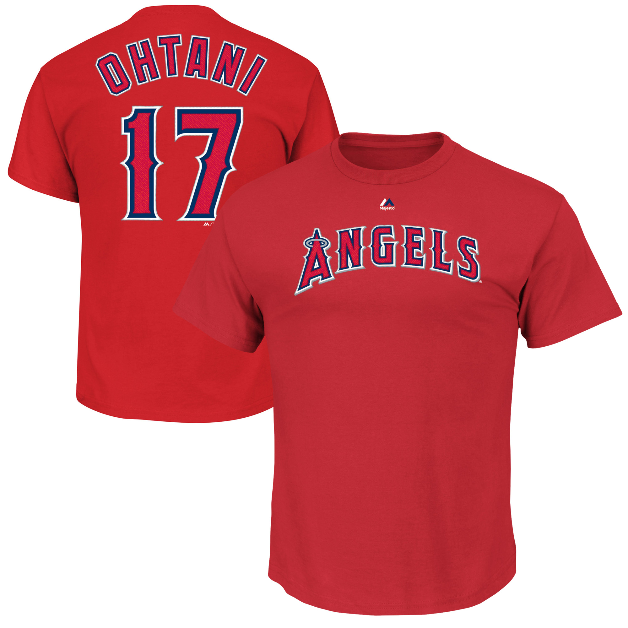 Shohei Ohtani Los Angeles Angels Majestic Official Name & Number T-Shirt - Red