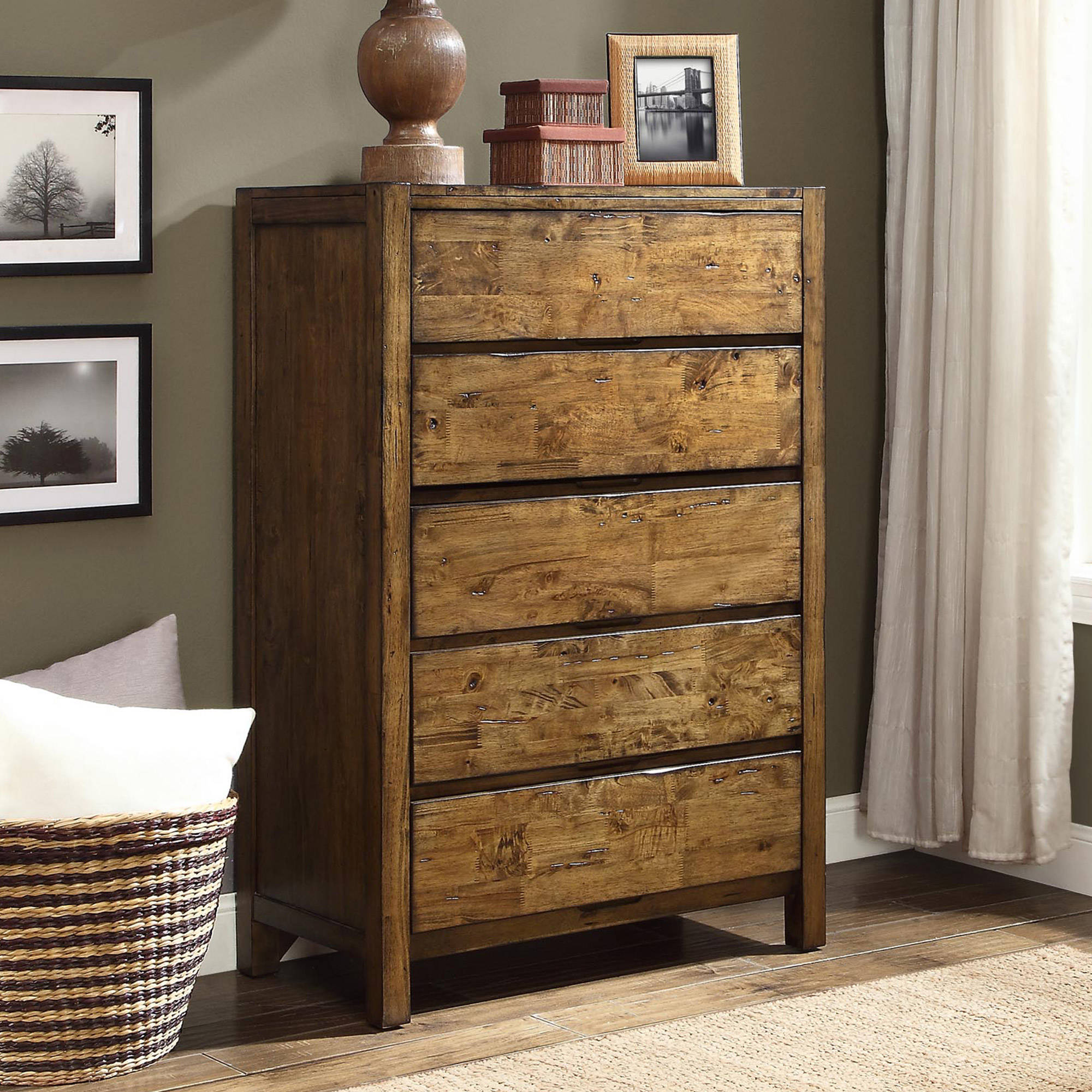 Better Homes and Gardens Bryant 5-Drawer Dresser, Rustic Brown Finish