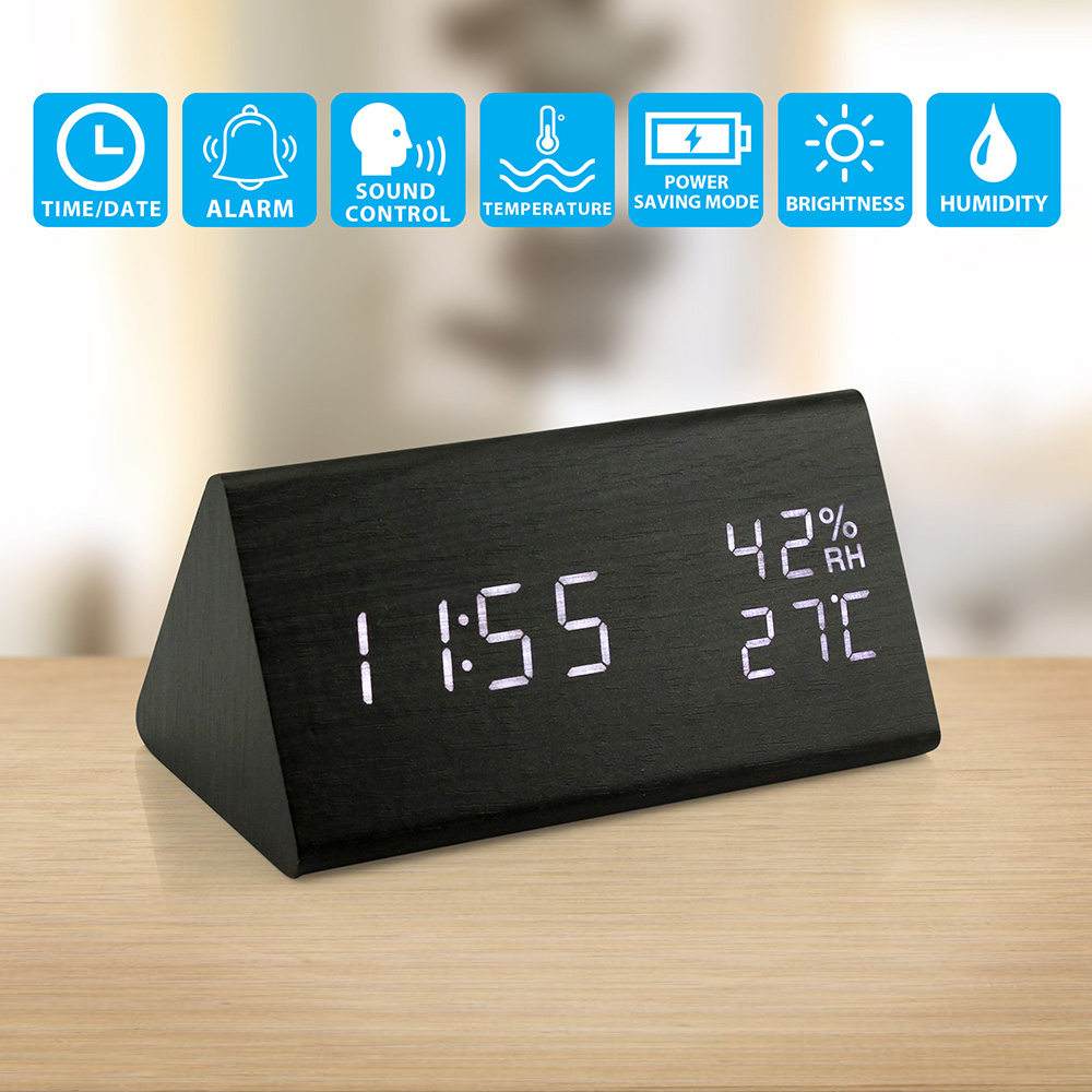 Wooden Alarm Clock, Wood LEDDigital Desk Clock, UPGRADED With Time Temperature, Adjustable Brightness, 3 Set of Alarm and Voice Control, Humidity Displaying - Black