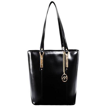 McKlein SAVARNA, Ladies Tote with Tablet Pocket, Top Grain Cowhide Leather, Black (97575)
