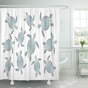 CYNLON Hawaii Silver Sea Turtles Turquoise Aqua Tribal Nautical Bathroom Decor Bath Shower Curtain 60x72 inch