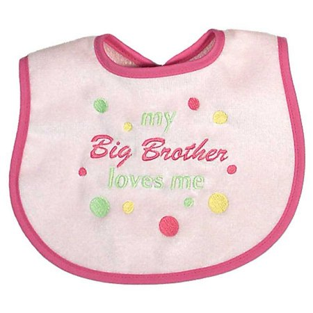 "Baby Girls ""Big Brother Loves Me"" Embroidered Bib, Pink"