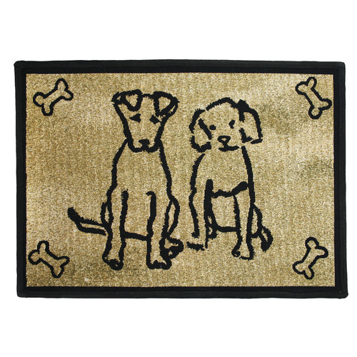 Park B Smith Ltd PB Paws & Co. Gold Dog Friends Tapestry Indoor/Outdoor Area Rug