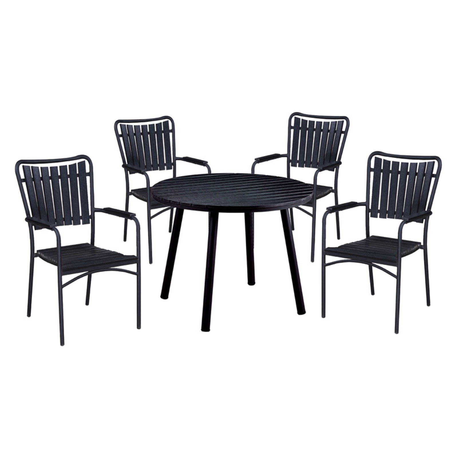 Oakland Living Splat Back Faux Wood and Steel 5 Piece Round Counter Height Patio Dining Set