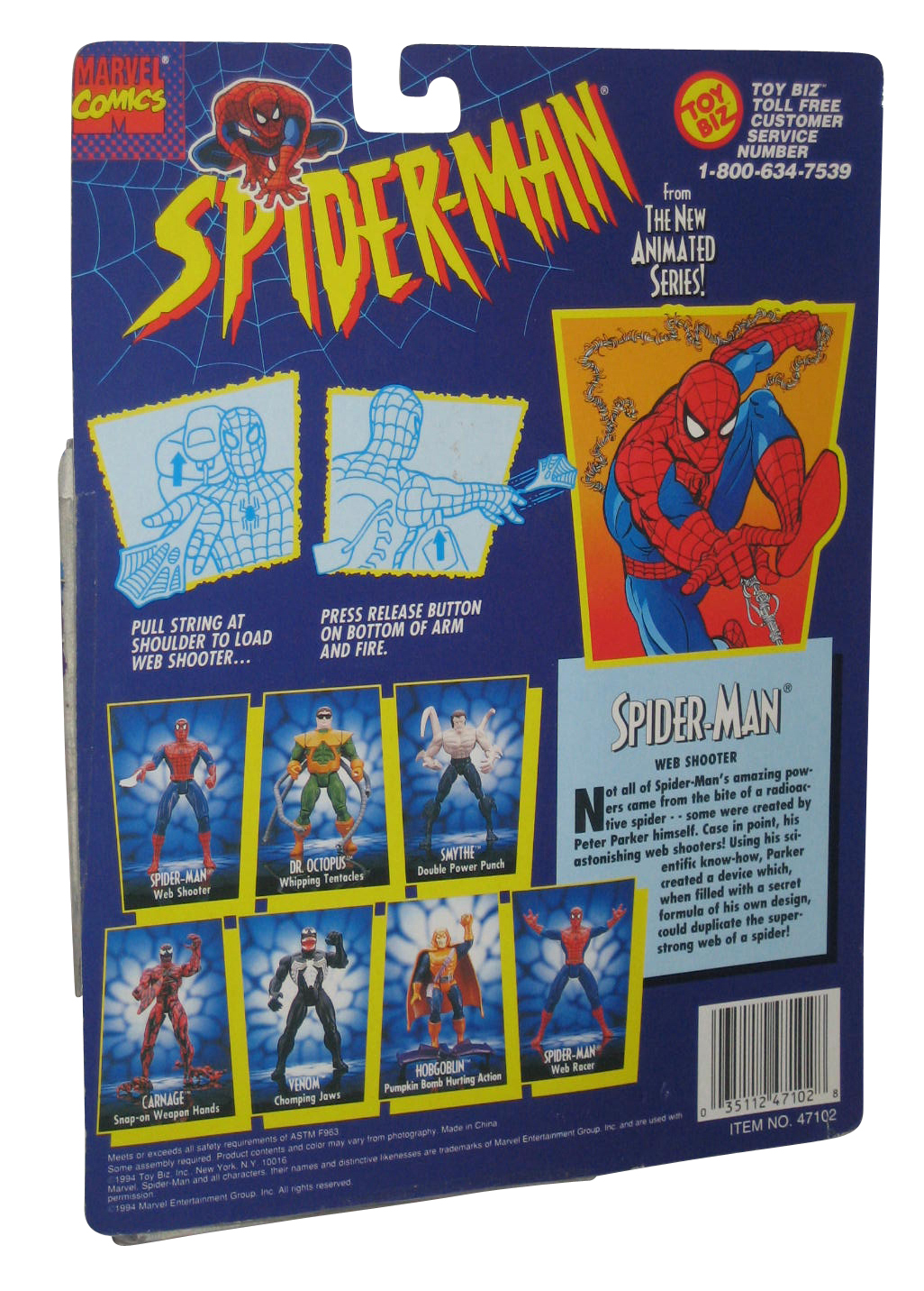 Marvel Comics Spider-Man Animated Series Toy Biz Figure w/ Web Shooter