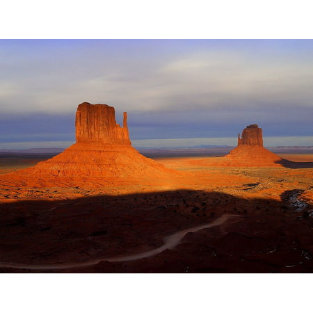 Canvas Print Monument Valley Route 66 Loneliness USA Arizona Stretched Canvas 10 x - Valley Rouge