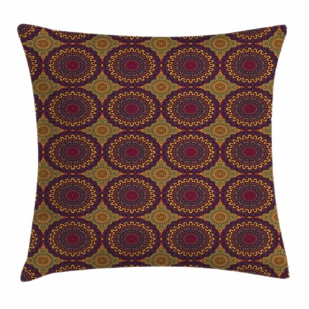 Moroccan Throw Pillow Cushion Cover, Oriental Art Style Mandala Motifs Vintage Design Tribal Inspirations, Decorative Square Accent Pillow Case, 16 X 16 Inches, Plum Petrol Blue Yellow, by Ambesonne