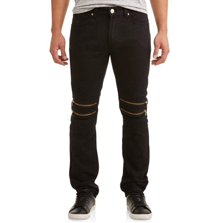 Men's Double Zip Moto Tapered Pants With Zipper Design
