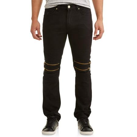 Men's Double Zip Moto Tapered Pants With Zipper - Double Seat Panty