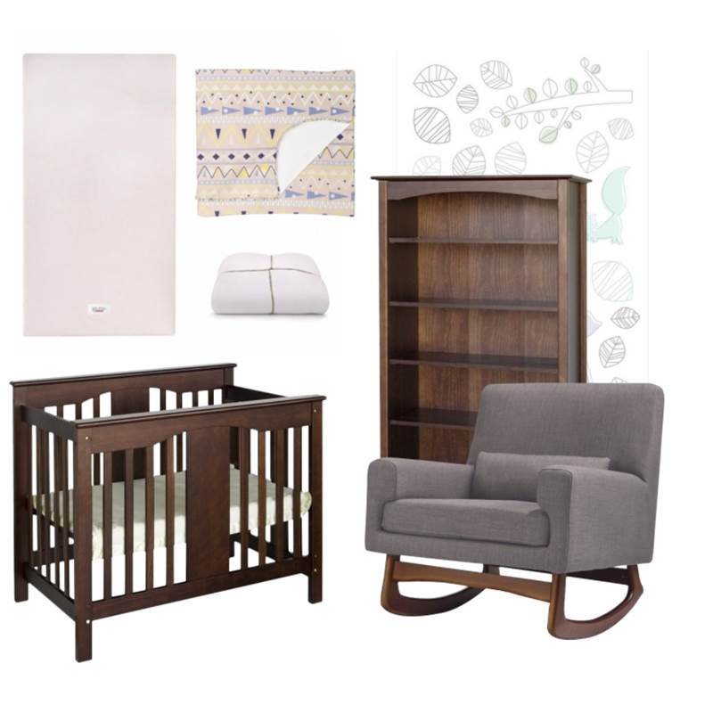 7 Piece Nursery Furniture Set with Crib and Rocking Chair with Bookcase in Wooden Style