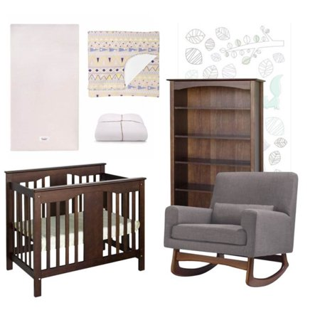 7 Piece Nursery Furniture Set With Crib And Rocking Chair Bookcase In Wooden Style