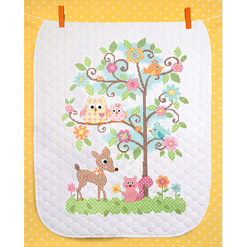 "Dimensions Baby Hugs Happi Tree Quilt Stamped Cross Stitch Kit, 34"" x 43"""