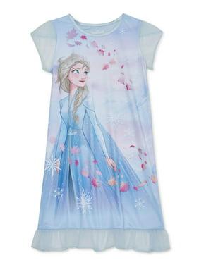 Frozen 2 Girls Exclusive 4-8 Short Sleeve Ruffle Bottom Pajama Nightgown