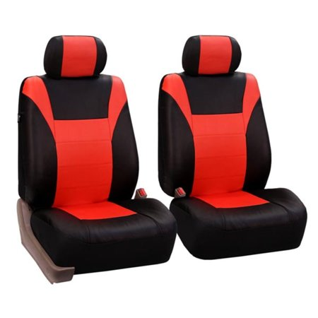 FH Group PU Leather Racing Car Seat Covers for Sedan, SUV, Van, Truck, Two Front Buckets, Tangerine Black
