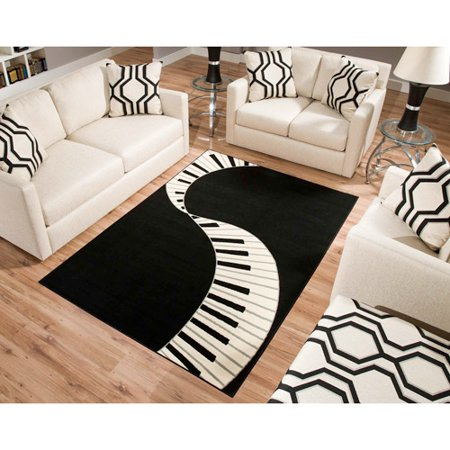 Terra piano rectangle area rug black white for Black n red living room
