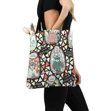 HATIART Cat Hipster Reusable Grocery Bags Shopping Bag Canvas Tote Bag Shoulder Bag - image 2 of 3