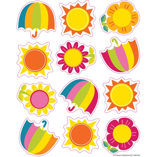 Spring Showers and Sun Shape Stickers by Carson-Dellosa