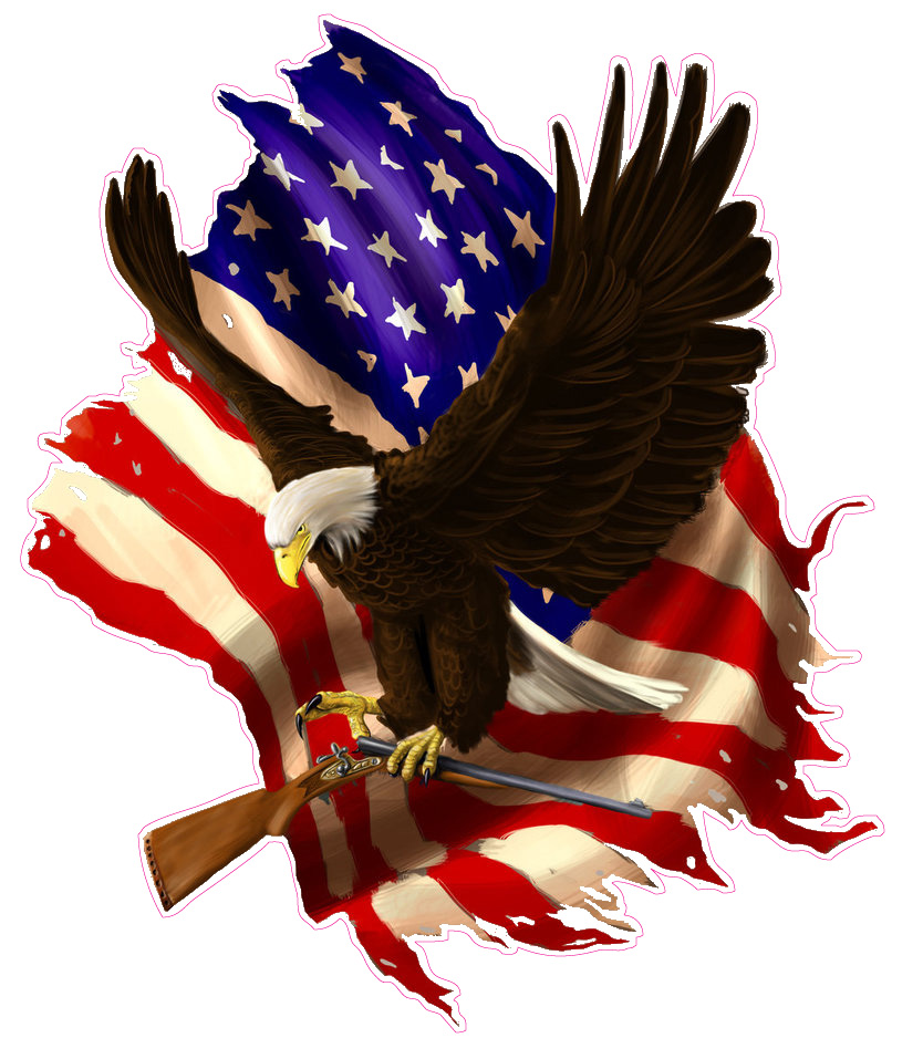 Baring Arms American Flag Eagle 5� Decal Free Shipping in the United States. by NOSTALGIA DECALS
