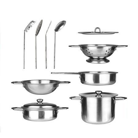 The Best 11 Pieces Kitchen Pretend Toys Stainless Steel Cookware Playset For