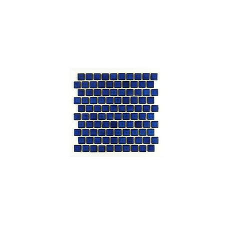 Mohawk Porcelain Tile - 1 1/8 by 1 1/8 inch glossy cobalt blue porcelain kitchen backsplash mosaic brick subway tile on a 12 by 12-inch staggered mesh (box of 5 sq ft)