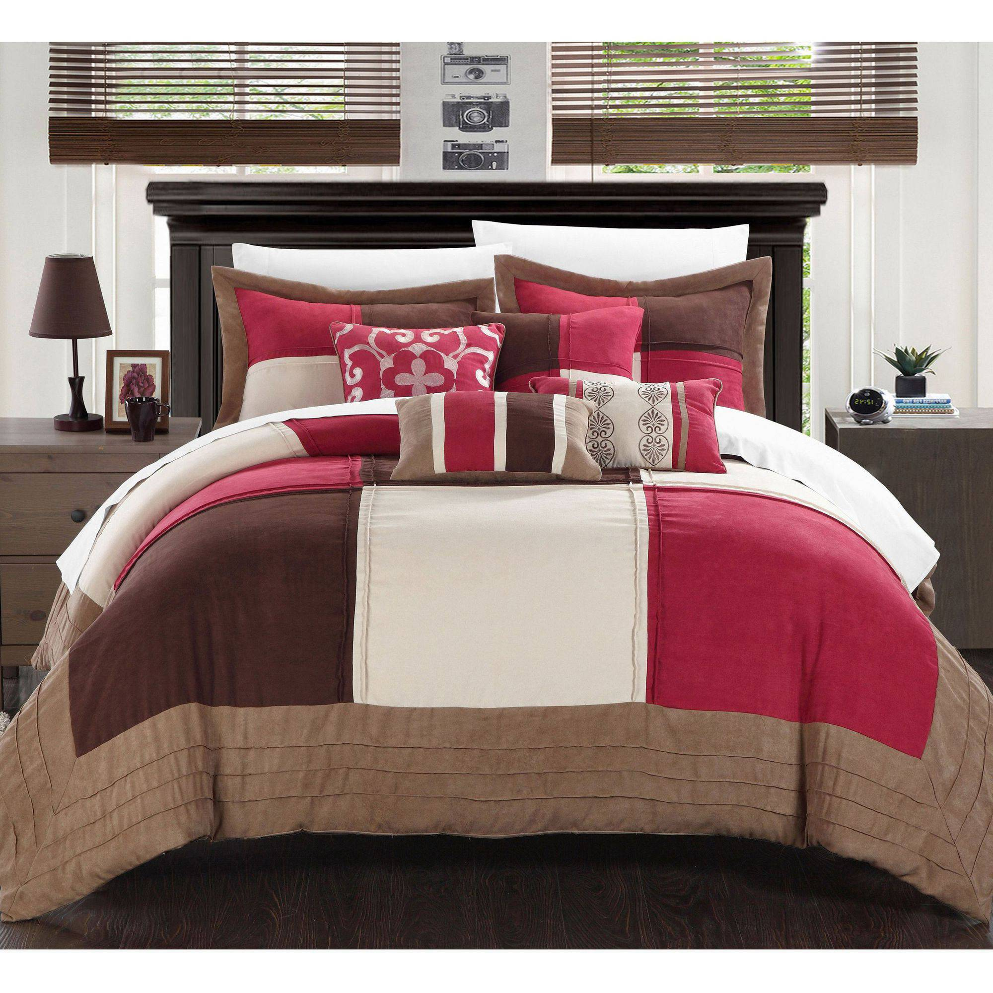 Chic Home Luciano 7-Piece Soft Microsuede Patchwork Bed In A Bag