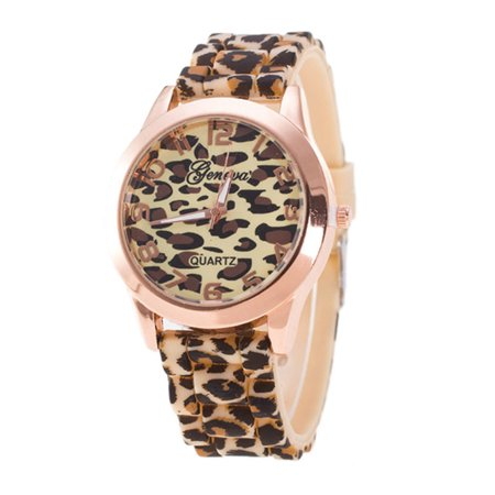 Outtop Unisex Geneva Leopard Silicone Jelly Gel Quartz Analog Wrist Watch Gold - Gold Plated Geneva Series