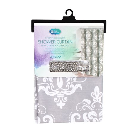 Striped Jacquard Shower Curtain With 12 Roller Hooks - Damask Grey ()