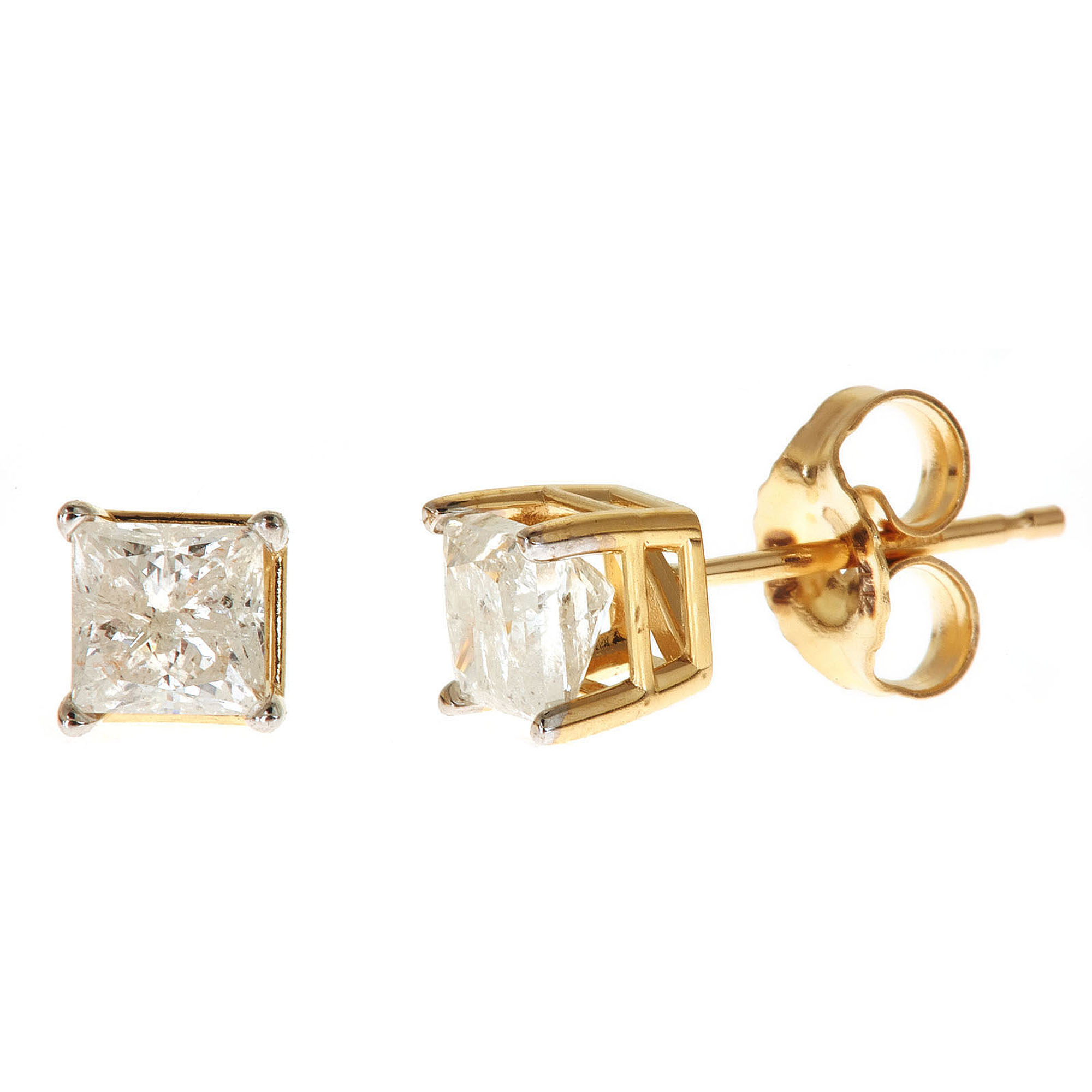 1 Carat T W Princess White Diamond 14kt Yellow Gold Stud Earrings