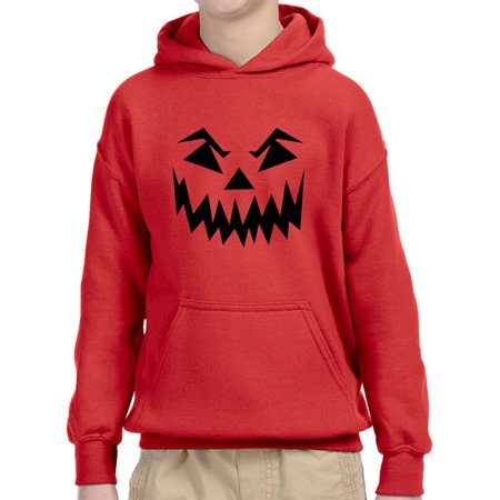 New Way 972 - Youth Hoodie Scary Halloween Pumpkin Face Jack O Lantern Unisex Pullover Sweatshirt Small Red