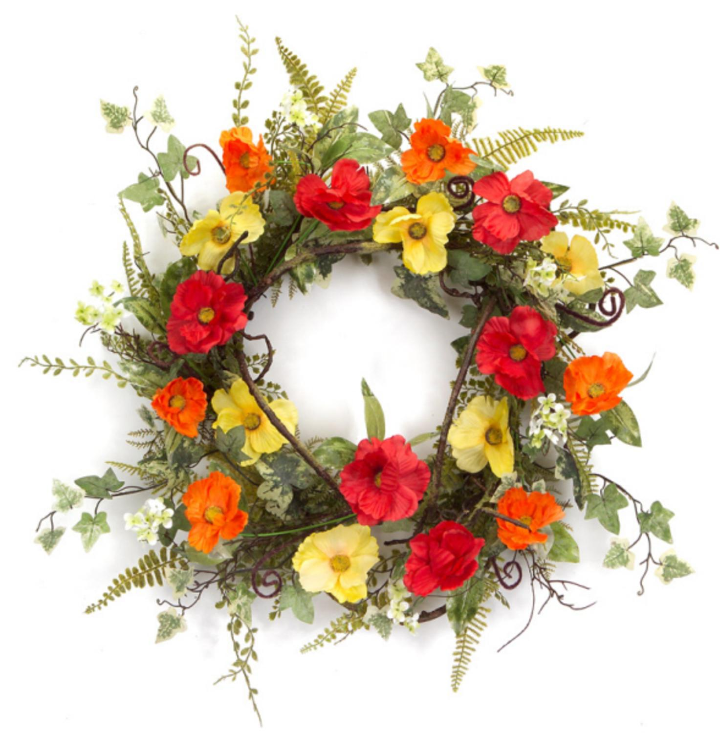 Pack of 2 Red, Orange and Yellow Poppy Flowers with Mixed Foliage Decorative Artificial Wreaths 24""