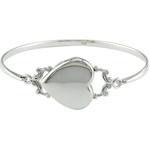 Sterling Silver Heart Locket Bangle
