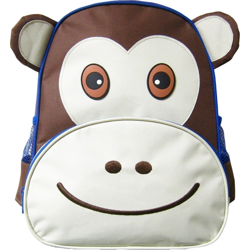 Kreative Kids Unisex Brown Monkey 3D Animal Side Mesh Pockets Backpack