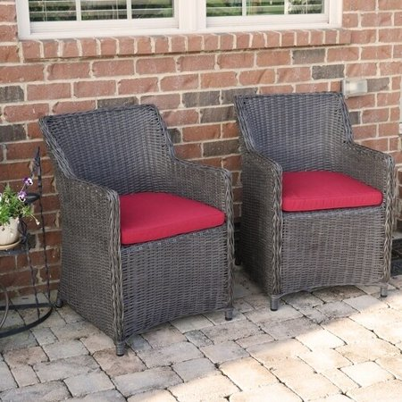 Factory Buys Direct Sea Island Wicker Patio Lounge Chair Set With Red Cushion - Set of 2 ()