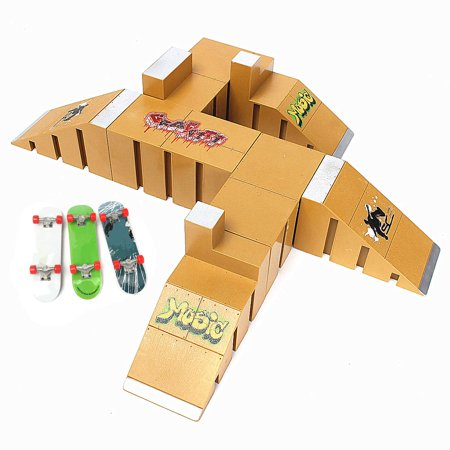 Yellow Skate Park Ramp Parts for Fingerboard Finger Board Parks Kid Children Toy Christmas Birthday Gift - Prank Toys For Sale
