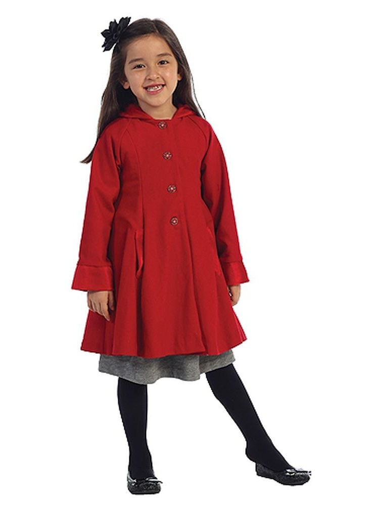 Angels Garment Little Girls Size 5/6 Red Wool Hooded Swing Coat
