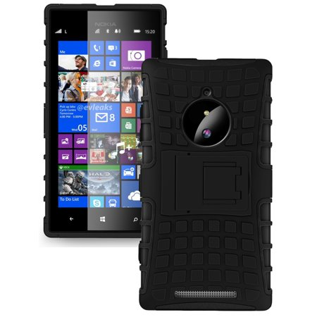 NAKEDCELLPHONE BLACK GRENADE GRIP RUGGED TPU SKIN HARD CASE COVER STAND FOR NOKIA LUMIA 830 (AT&T T-Mobile Verizon Unlocked) (Phone Cover For Nokia Lumia 830)