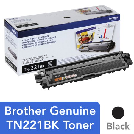 - Brother Genuine Standard Yield Toner Cartridge, TN221BK, Replacement Black Toner, Page Yield Up To 2,500 Pages