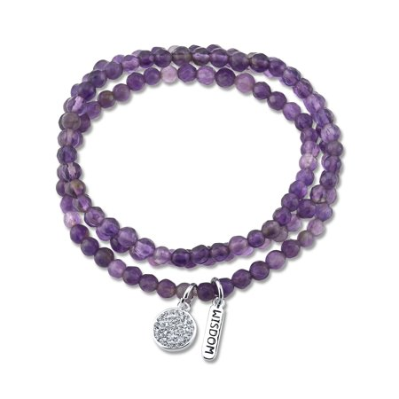 Genuine Amethyst and Crystal Charms Triple Wrap Bracelet