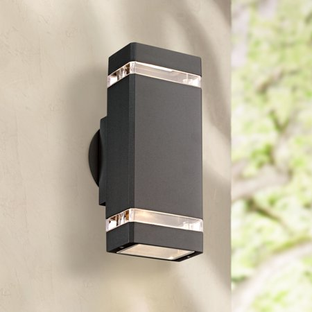 Possini Euro Design Modern Outdoor Wall Sconce Fixture Graphite Gray 10 1/2