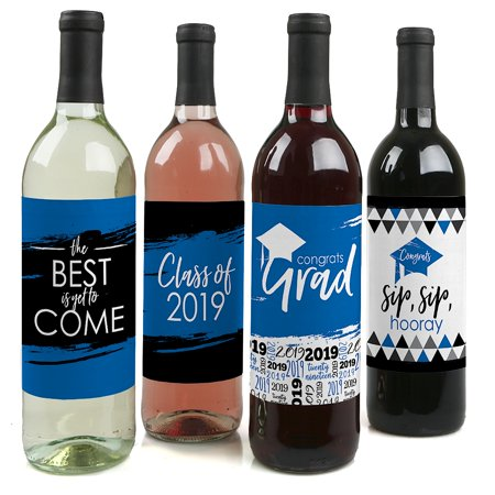 Blue Grad - Best is Yet to Come - Royal Blue 2019 Graduation Party Decorations for Women and Men - Wine Bottle
