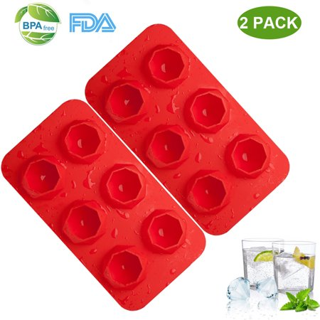 - Silicone Ice Cube Trays 2 Pack 6 Ice Cubes Molds Easy-Release Stackable LFGB/FDA Approved BPA-free Ice Cube Tray Set(Red)