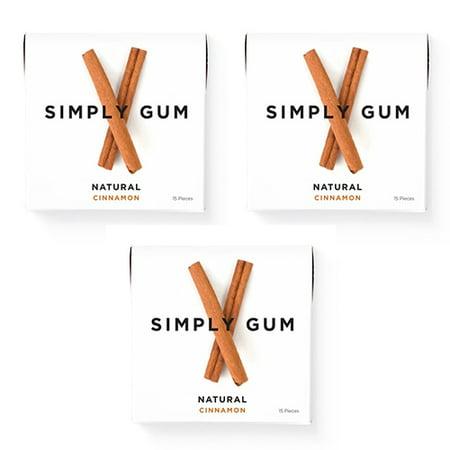 Simply Gum, Cinnamon Chewing Gum, Non Gmo, Vegan, 15 Pcs, 3 Ct (Organic Gum)