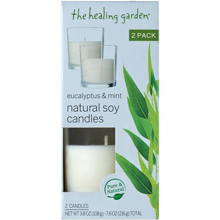 The Healing Garden Eucalyptus & Mint Natural Soy Candles, 3.8 oz, 2 ct