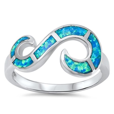 Sterling Silver Women's Blue Simulated Opal Open Infinity Swirl Ring (Sizes 6-10) (Ring Size 9)