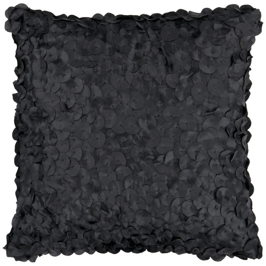 "18"" Jet Black Shimmering Satin Rondelle Decorative Throw Pillow"