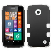 Insten Black/Solid White TUFF Hybrid Rugged Hard Shockproof Phone Protector Case For Nokia Lumia 630 635