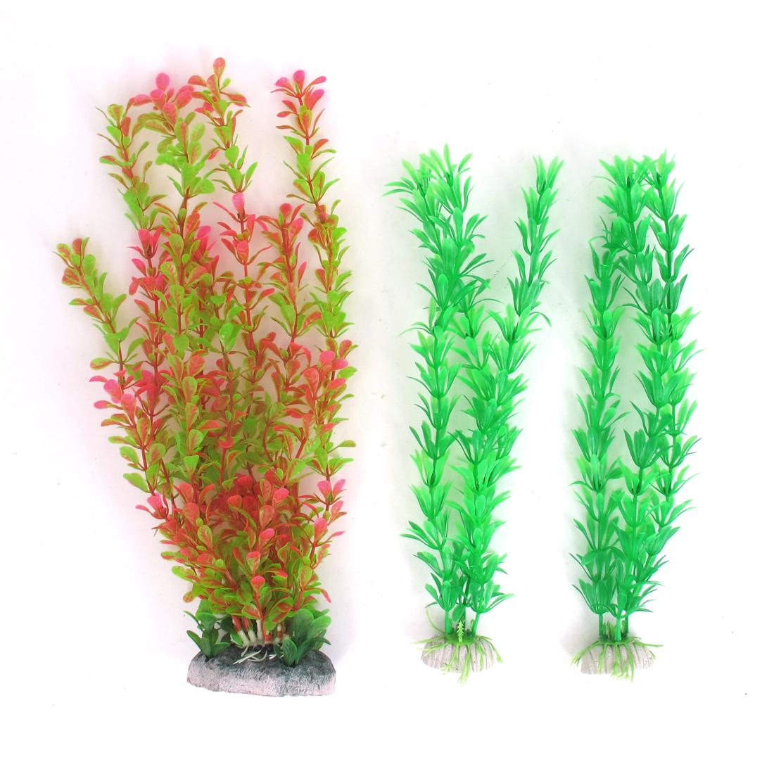 Unique Bargains 3pcs 30cm 27cm High Fuchisa Green Plastic Water Grass Aquarium Plant Decoration by
