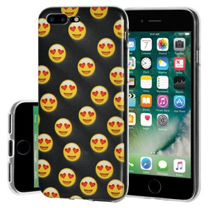 iPhone 7 Plus Case, Soft Gel Clear Emoji TPU Back Case Impact Defender Skin Cover iPhone 7 - Love